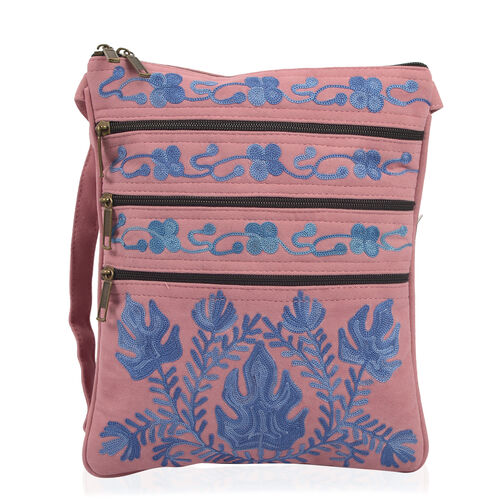 Hand Embroidered Pink and Blue Colour Floral and Leaves Pattern Sling Bag
