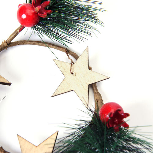 Set of 2 - Mini Candlestick wreath Embellished with Red Berry, Star and Leaf (Size 7 Cm)