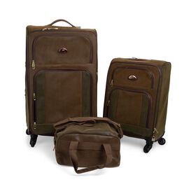 Faux Suede 3 Piece Luggage Set- (Large 73x43x29cm, Cabin 55x34x20cm and Holdalls 28x38x22cm)