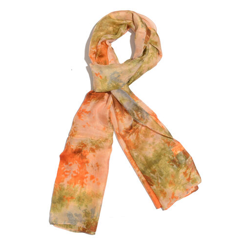 Last In Stock - 100% Mulberry Silk Orange, Blue and Multi Colour Handscreen Printed Scarf (Size 180x