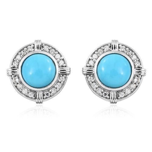 Arizona Sleeping Beauty Turquoise (Rnd), Natural Cambodian Zircon Stud Earrings (with Push Back) in Platinum Overlay Sterling Silver 3.750 Ct.