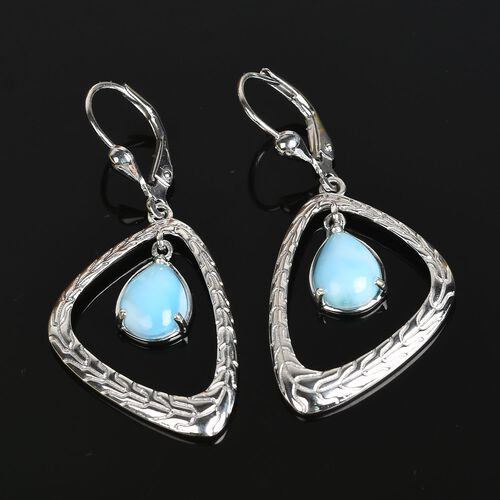 Larimar Lever Back Drop Earrings in Platinum Overlay Sterling Silver 4.00 Ct.