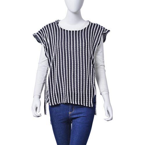White and Black Colour Poncho (Size 80x50 Cm)