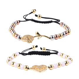 Set of 2 - Simulated Diamond and Pink Colour Beads Adjustable Bracelet (Size 6.5-9) in Tritone