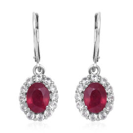 5.72 Ct African Ruby and Zircon Halo Earrings in Rhodium Plated Silver