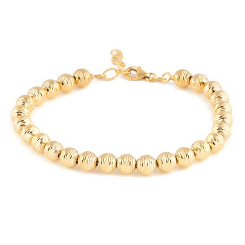 Made in Italy 9K Yellow Gold Diamond Cut Ball Bracelet (Size 7 with 1 Inch Extender), Gold wt 6.63 Gms.