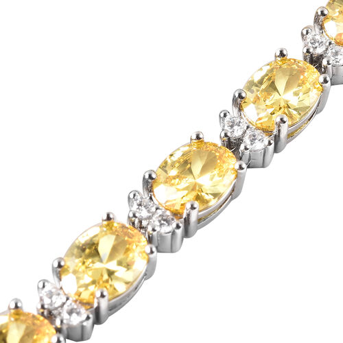 MP Simulated Yellow Sapphire and Simulated Diamond Tennis Necklace (Size 16) in Silver Tone