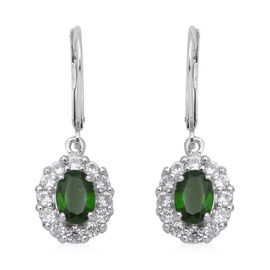 3.24 Ct Russian Diopside and Zircon Halo Drop Earrings in Rhodium Plated Sterling Silver