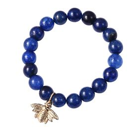 Blue Agate (Rnd) Bead Bracelet (Size 7 Stretchable) with Bee Charm in Yellow Gold Plating 120.00 Ct.
