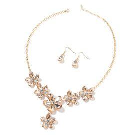 Simulated Champagne Diamond (Pear), White Austrian Crystal BIB Necklace (Size 21 and 2.5 inch Extender) and Drop Hook Earrings in Yellow Gold Tone