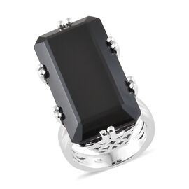 41 Carat Boi Ploi Black Spinel Solitaire Ring in Platinum Plated Silver 7.55 Grams