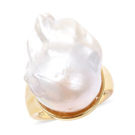 Baroque Pearl Ring in Yellow Gold Overlay Sterling Silver, Silver wt 7.20 Gms