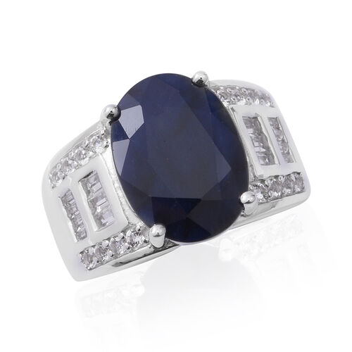 Limited Edition-  Madagascar Blue Sapphire (Ovl 14x10 7.34 Ct), White Topaz Ring in Rhodium Overlay