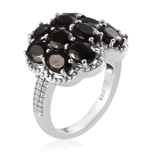 Elite Shungite (Ovl) Cluster Ring in Platinum Overlay Sterling Silver 2.50 Ct.