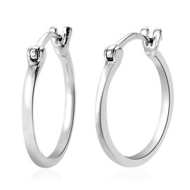 9K White Gold Hoop Earrings (with Clasp)