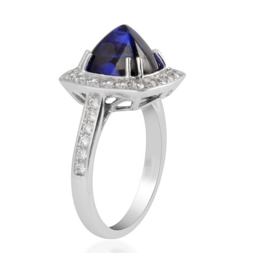 RHAPSODY 950 Platinum AAAA Tanzanite and Diamond (VS/E-F) Ring 5.30 Ct, Platinum wt 7.96 Gms