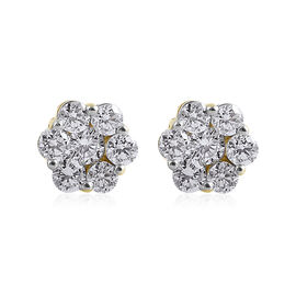 1 Carat Diamond Pressure Set Floral Earrings with Push Back in 9K Gold SGL Certified I3 GH