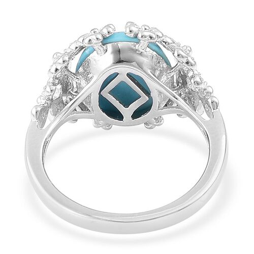 Designer Inspired- Arizona Sleeping Beauty Turquoise (Ovl 3.00 Ct), White Zircon Ring in Rhodium Plated Sterling Silver 3.100 Ct