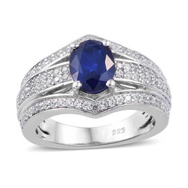 2 Ct Blue Spinel and Cambodian Zircon Solitaire Design Ring in Sterling Silver 5 Grams