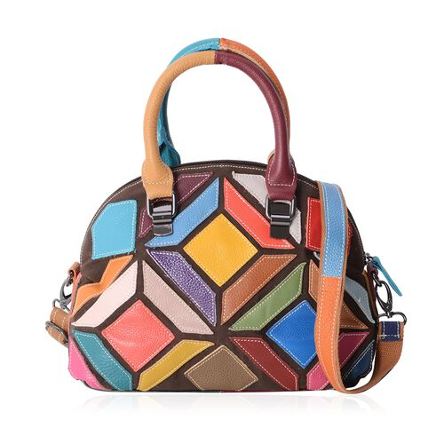 Morocco Collection100% Genuine Leather MultiColor Block Bag with Removable Shoulder Strap (Size 26.5x22x13 Cm)
