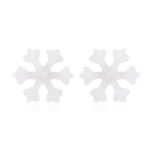 Natural White Jade Snowflake Earrings (with Push Back) in Sterling Silver 13.00 Ct.