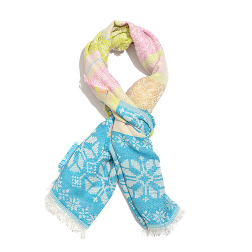 Designer Inspired-  Blue, White and Multi Colour Floral Pattern Scarf with Fringes (Size 180X70 Cm)