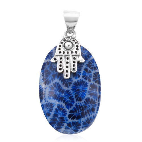 Royal Bali Collection Blue Sponge Coral Hamsa Pendant in Sterling Silver