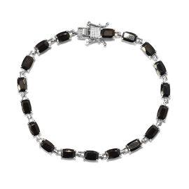 6.25 Ct Elite Shungite Tennis Bracelet in Platinum Plated Sterling Silver 8.64 Grams 7 Inch