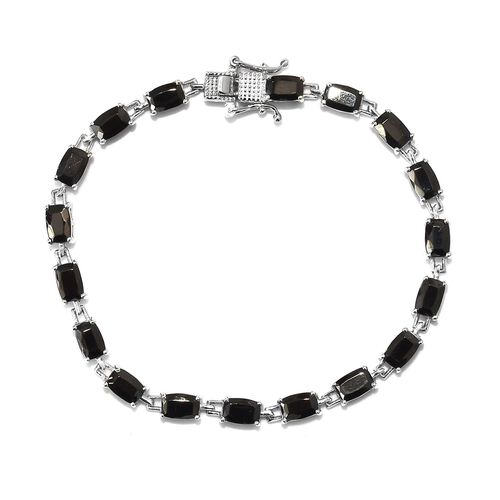 6.25 Ct Elite Shungite Tennis Bracelet in Platinum Plated Sterling Silver 8.64 Grams 7 Inch