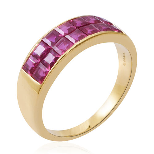 ILIANA 18K Yellow Gold AAAA Burmese Ruby (Princess Cut Half Eternity Band Ring Invisible Setting 3.000 Ct, Gold wt 5.80 Gms.
