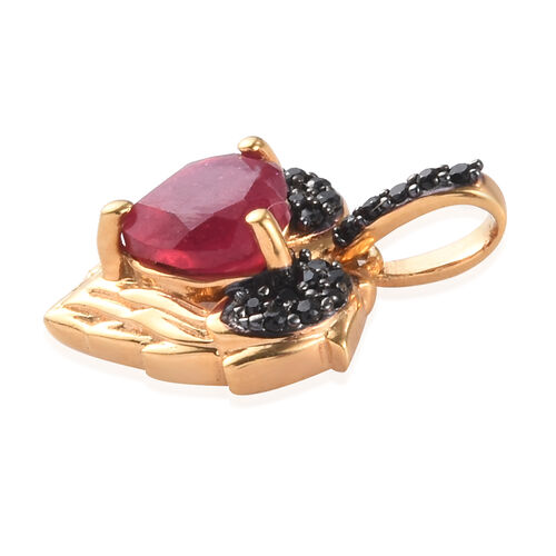 GP African Ruby, Boi Ploi Black Spinel and Blue Sapphire Pendant in 14K Gold Overlay Sterling Silver