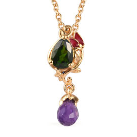 GP - Russian Diopside, Amethyst and Blue Sapphire Enamelled Lotus Flower Design Pendant with Chain (