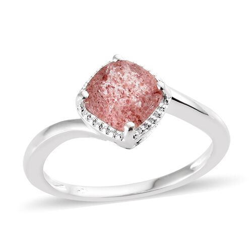 Pink Lapido Natural Quartz (Cush) Solitaire Ring in Sterling Silver 2.000 Ct.