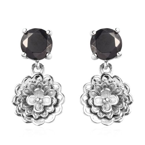 Elite Shungite Floral Drop Earrings (with Push Back) in Platinum Overlay Sterling Silver 1.00 Ct.