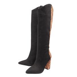 Ravel Grande Zebra Pattern Knee-High Heeled Boots - Black