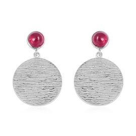 RACHEL GALLEY African Ruby (Rnd) Dangle Earrings (with Push Back) in Rhodium Overlay Sterling Silver