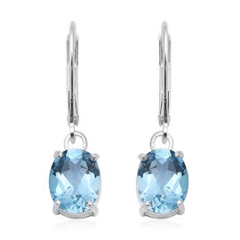 Sky Blue Topaz (Ovl 9x7 mm) Lever Back Earrings in Sterling Silver 4.40 Ct.