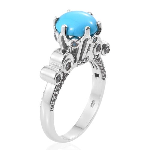 Arizona Sleeping Beauty Turquoise (Rnd 3.50 Ct), Natural Cambodian Zircon Ring in Platinum Overlay Sterling Silver 4.500 Ct. Silver wt 5.50 Gms.