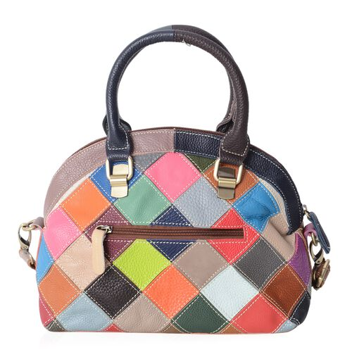 Morocco Collection100% Genuine Leather Checker Blocking Tote Bag with Removable Shoulder Strap (Size 26x22x13 Cm)