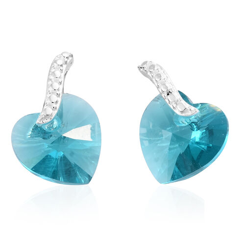 J Francis Crystal From Swarovski - Blue Zircon Crystal (Hrt) Pendant With Chain and Earrings (with Push Back) in Sterling Silver