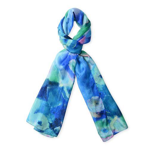 Designer Inspired- 100%  Mulberry Silk Dark Blue Colour Flower Art Pattern Scarf (Size 175x53 Cm)