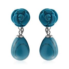 32 Ct Blue Howlite Drop Earrings in Stainless Steel