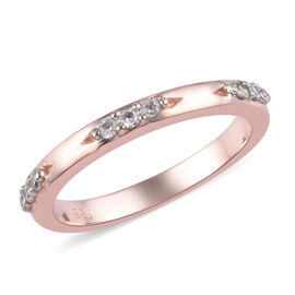 Natural Cambodian Zircon (Rnd) Band Ring in Rose Gold Overlay Sterling Silver