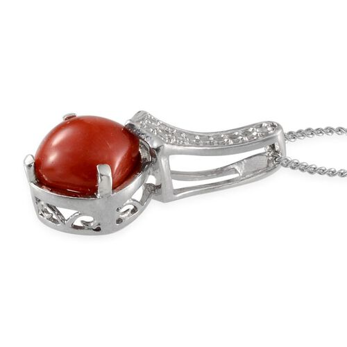 Mediterranean Coral (Cush), Diamond Pendant With Chain in Platinum Overlay Sterling Silver 1.410 Ct.