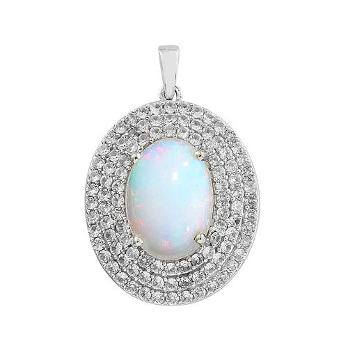 5.5 Ct Ethiopian Opal and Cambodian Zircon Halo Pendant in Sterling Silver 4.79 Grams