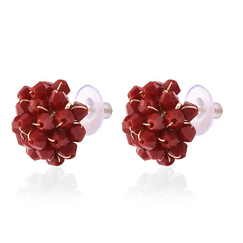 Simulated Ruby Cluster Stud Earrings (with Push Back) in Gold Tone