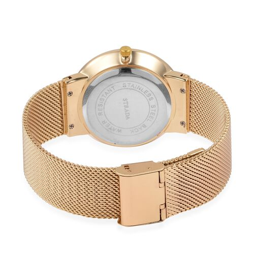 STRADA Japanese Movement Water Resistant Golden Colour Dial Watch with Gold Strap