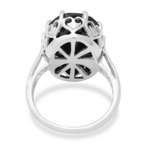 AAA Boi Ploi Black Spinel (Ovl 20x15mm) Solitaire Ring in Rhodium Overlay Sterling Silver 17.93 Ct.