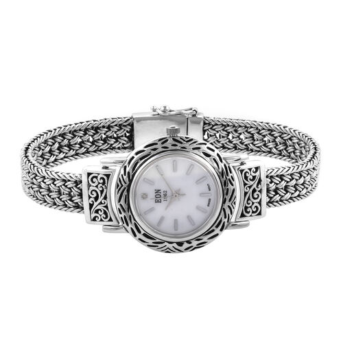 Doorbuster Deal- Royal Bali Collection EON 1962 Swiss Movement Water Resistant Watch (Size 8) with Mother of Pearl Dial in Sterling Silver, Silver Wt. 45.00 Gms