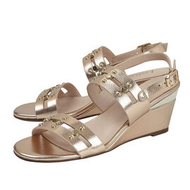 Lotus Alice Wedge Sandals in Rose Gold Colour